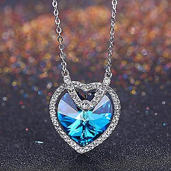 Swarovski Krystaly Sterling Silver srdce náhrdelník