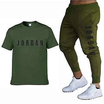 Men's Suit Personalized Fashion Printing Sports Short-sleeved T-shirt + Sports