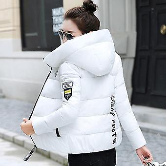 vinter parkas kvinner jakke hette, tykk varm kort bomull polstret basic frakk,