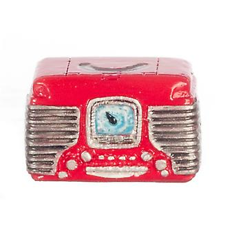 Melody Jane Dolls House Miniature 1:12 Scale Accessory Red 1950's Retro Radio