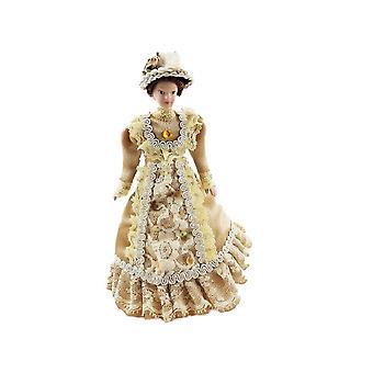 Dolls House Viktoriaaninen nainen kahviasussa Posliini 1:12 Ihmiset