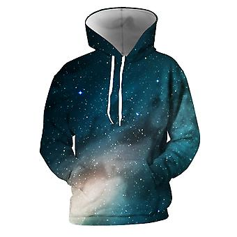 Mens 3d Colorful Galaxy Printed Pitch Blue Hoodies With Pockets