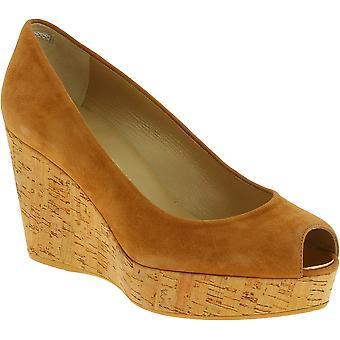 Stuart Weitzman Women's peep toe high wedges shoes in beige suede leather