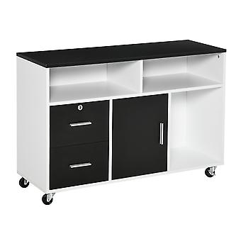 HOMCOM Mobile File Cabinet Home Office Lateral Filing Cabinet, Printer Stand  with Open  Shelves, Storage Organizer with Lockable Drawer, Black