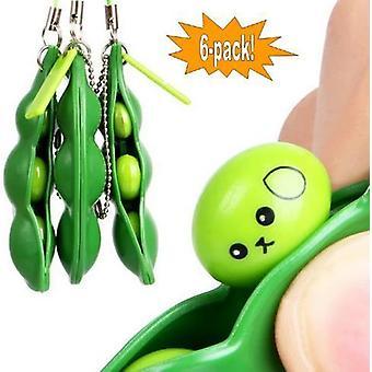 6-Pack - Green Beans - Bönor - Fidget Toys - Leksak / Sensory Grön