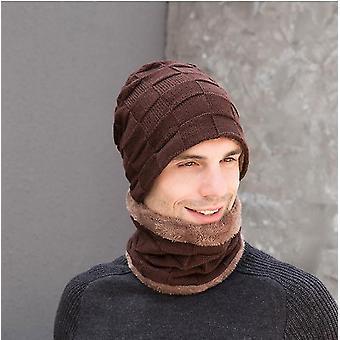 Gemdeck 3 stuks gebreide hoed Set Winter Dikke Warme Snug Knit Hat + Sjaal + Touch Screen handschoenen voor mannen
