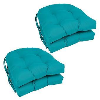 Coussins de chaise touffetés en forme de U solide de 16 pouces (ensemble de 4) - Aqua Blue