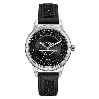 Harley Davidson 76L192 Women's Bar And Shield Crystal Embellished Wristwatch