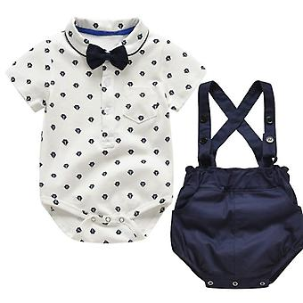 Summer Baby Clothes Set Solid Strap Shorts Sleeve Casual Bow Tie Tops Gentle