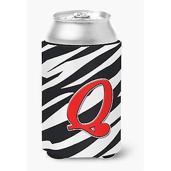 Ersten Buchstaben Q Monogramm - Zebra rot kann oder Flasche Getränk Isolator Hugger