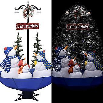 vidaXL شجرة عيد الميلاد مع الثلج ومظلة القدم الأزرق 170 سم PVC