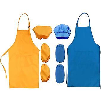 Kinder Schrze und Kochmtze rmel Set, Bastelschrze mit 2 Taschen Kinder Verstellbar e Kochschrze fr Jungen Mdchen