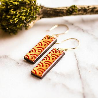 Red And Gold Wave Japanese Paper And Wood Earrings