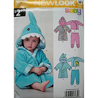 New Look Sewing Pattern 6235 Baby Hooded Robe Size Birth to 24 Pounds