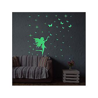 Swotgdoby Girl And Butterfly Luminous Wall Stickers