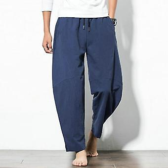 Linen Men's Trousers, Summer Pants, Solid Cotton And Linen, Casual, Long Loose,