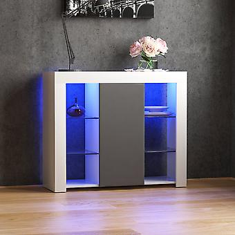 Azura 1 Door LED Large Sideboard High Gloss Cabinet, White & Grey