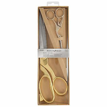 Milward Scissors: Gift Set: Dressmaking (25cm) and Embroidery (11.5cm): Gold