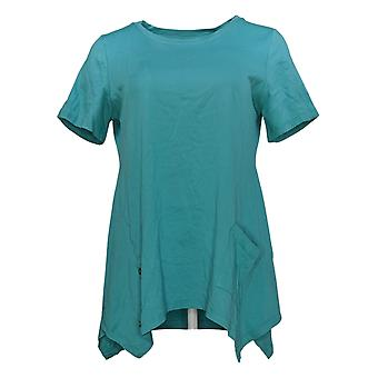 LOGO by Lori Goldstein Women's Top Cotton Knit w/ Buttons Green A290508