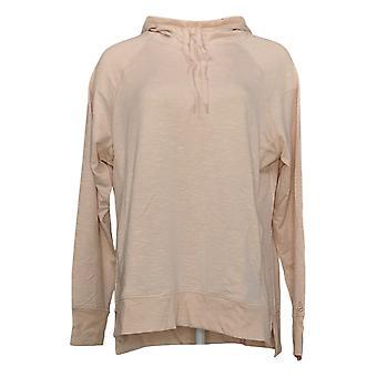 Cuddl Duds Women's Slub Knit Hooded Tunic Rib Detailing Pink A346873