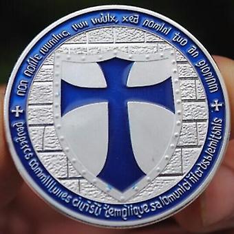 Knights templar - wide cross shield navy blue coin