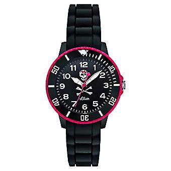s.Oliver SO-2588-PQ - ساعة يد الصبي، السيليكون، اللون: أسود
