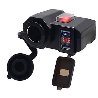 Motorcykel dobbelt USB bil oplader dobbelt, navigator oplader, 12v vandtæt cigarettænder