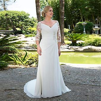Lace V-neck Sexy Pleats Chiffon Wedding Boho Dress