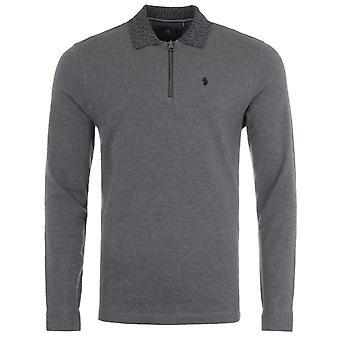 Luke 1977 Jacquard Collar Zip Long Sleeve Polo Shirt - Grey