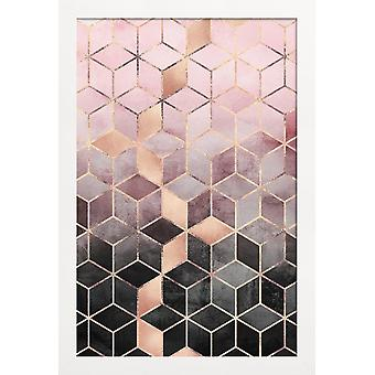 JUNIQE Print - Różowe Szare Kostki Gradientowe - Abstrakcyjny & Geometryczny Plakat w kolorze szarym & różowym