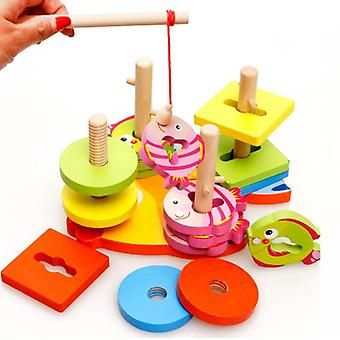 Baby Wooden Magnetic Fishing Toy Colorful Block Geometric Shapes Sorting
