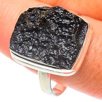 Тектитовое кольцо Размер 12.5 (925 стерлингового серебра) - Ручной работы Boho Винтаж ювелирные изделия RING65693
