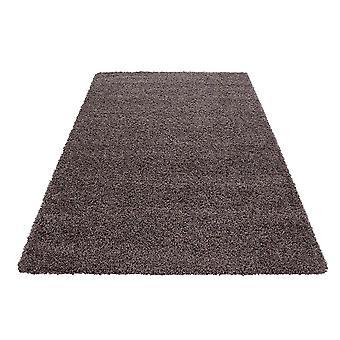 Hoge stapel tapijt woonkamer Langflor Shaggy Monochrome Uni Goedkope Taupe Bruin Grijs Prijs hamer 5 cm stapelhoogte