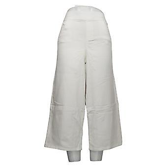 Martha Stewart Women's Jeans Regular Denim Pull-On Culotte White A353808