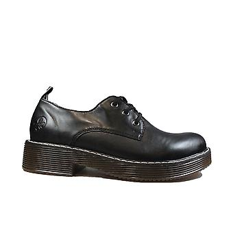 Rieker 50010-00 Black Leather Womens Lace Up Shoes