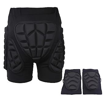 Roller Skating, Skiing, Cycling, Anti-fall Pants, Protective Buttock Pants + Anti-collision Soft Knee Pads