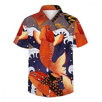 ユンユン メン&アポス 3D カープ プリント 半袖シャツ