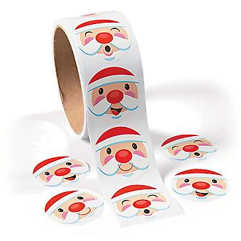 Roll of 100 Santa Face Stickers for Kids Christmas Crafts