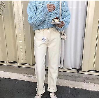 Primavera De cintura alta Calças Jeans Jeans Calças Jeans (l)
