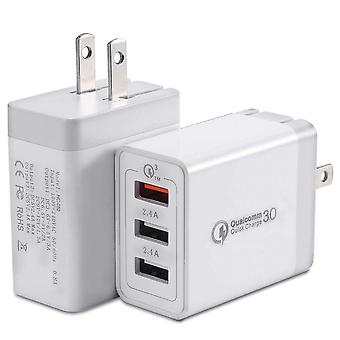 Quick Charge 3.0 Wall Charger, 30w Multi-port 3-usb Plug Adaptive Fast