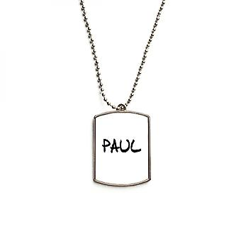 English Name Paul Stainless Steel Pet Tag Pendant