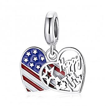 Sterling Silver Pendant Charm Happy 4th Of July - 7204