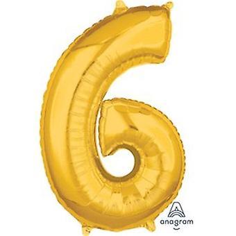 89553 26 Zoll Nummer 6 Helium Ballon - Gold