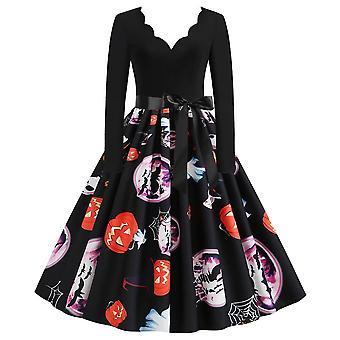 Femmes Rockabilly 50s 60s Halloween Col V Midi Hepburn Robe