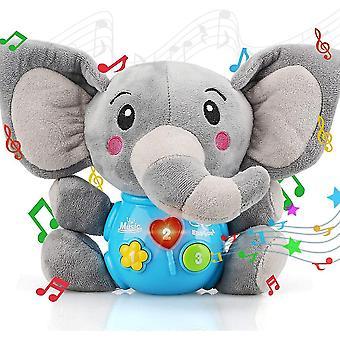Plysj elefant baby leker - musikalske leker for baby 0 til 36 måneder