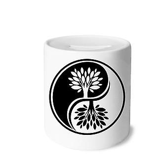 Weißes Yin-yang Print Keramik Sparschwein