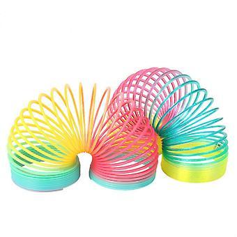 3 Stück Regenbogen Farbe Frühling Spielzeug Kreis Stretchy Coil Kinder Pädagogisches Spielzeug