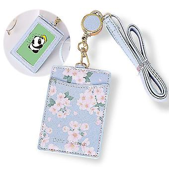 (Blue)Badge Holder Flowered Pu Leather Vertical With Retractable Lanyard