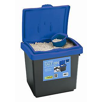 30L Winter zout Bin blauwe deksel voor opslag gemaakt van kunststof met bolletje