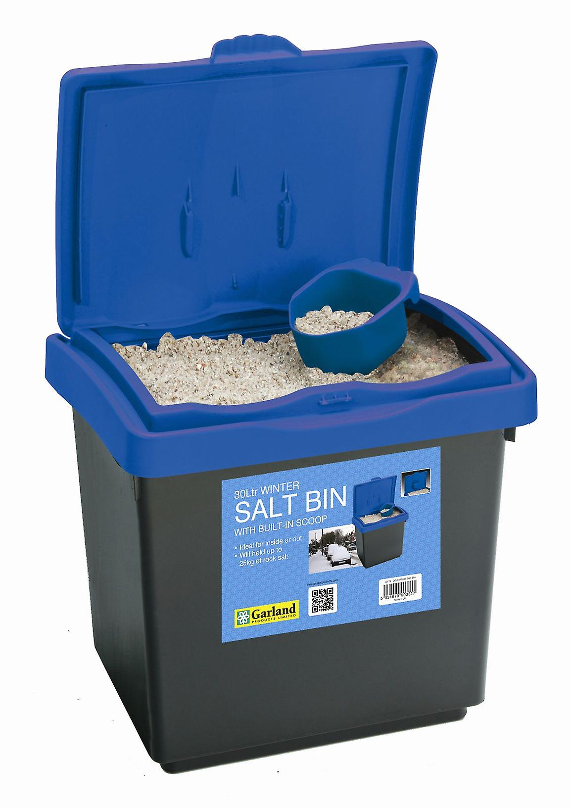 30L Winter Salt Bin Blue Lid for Storage made from Plastic with Scoop